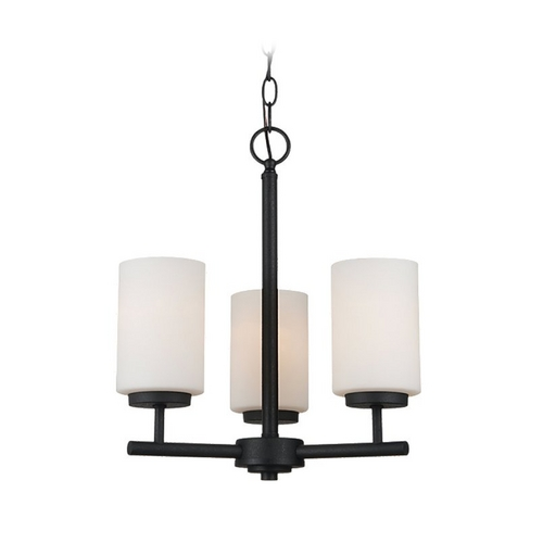 Sea Gull Lighting Modern Mini-Chandelier with White Glass in Blacksmith Finish 31160-839