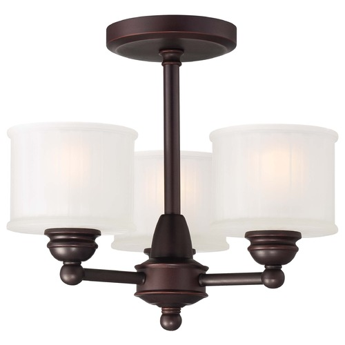 Minka Lavery Semi-Flushmount Light with White Glass in Lathan Bronze Finish 1738-167