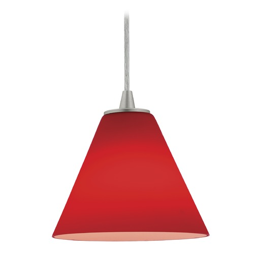 Access Lighting Access Lighting Sydney Inari Silk Brushed Steel Mini-Pendant with Conical Shade 28004-1C-BS/RED
