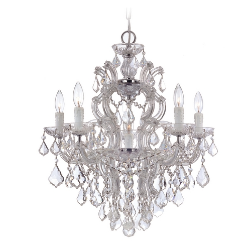 Crystorama Lighting Crystal Chandelier in Polished Chrome Finish 4435-CH-CL-SAQ