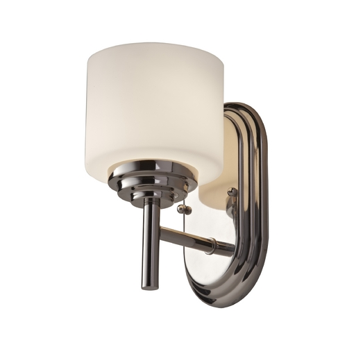 Feiss Lighting Modern Sconce with White Glass in Polished Nickel Finish VS26001-PN