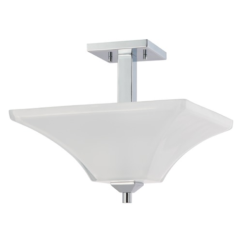 Nuvo Lighting Modern Semi-Flushmount Light with White Glass in Polished Chrome Finish 60/4007
