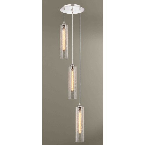 Design Classics Lighting Satin Nickel Multi-Light Pendant with Seeded Glass 3 Lt 583-09 GL1641C