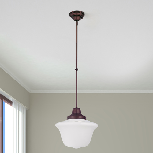 Design Classics Lighting 14-Inch Pendant Light with Opal Schoolhouse Glass in Bronze Finish FB6-220 / GD14