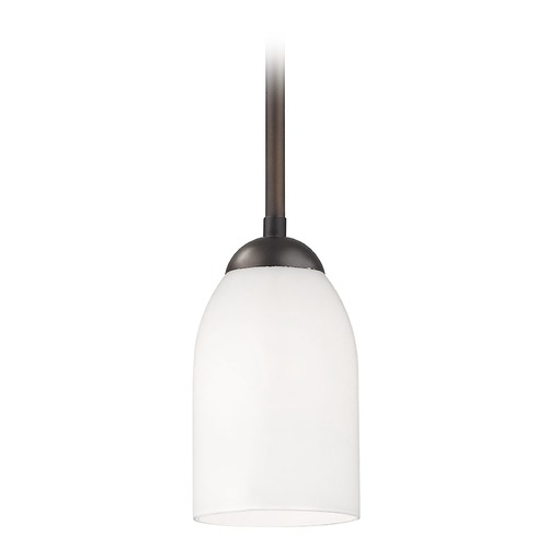 Design Classics Lighting Modern Mini-Pendant Light with Satin White Glass Shade in Bronze 581-220 GL1028D