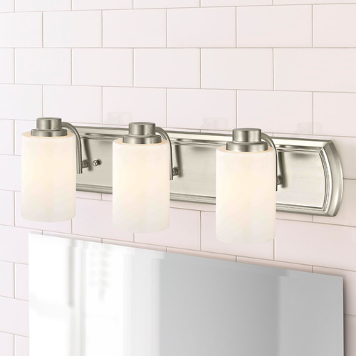 Design Classics Lighting 3-Light Bathroom Light in Satin Nickel and Satin White Glass 1203-09 GL1028C