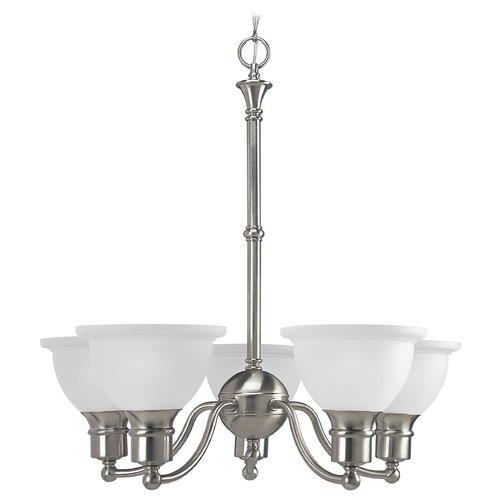 Progress Lighting Progress Chandelier with White Glass in Brushed Nickel Finish P4281-09