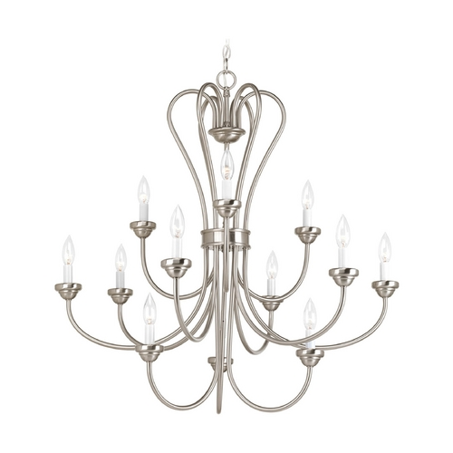 Progress Lighting Chandelier with White Glass in Brushed Nickel Finish P4686-09