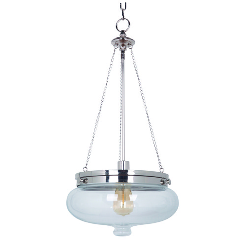 Jeremiah Lighting Jeremiah Yorktown Polished Nickel Pendant Light with Bowl / Dome Shade 35041-PLN
