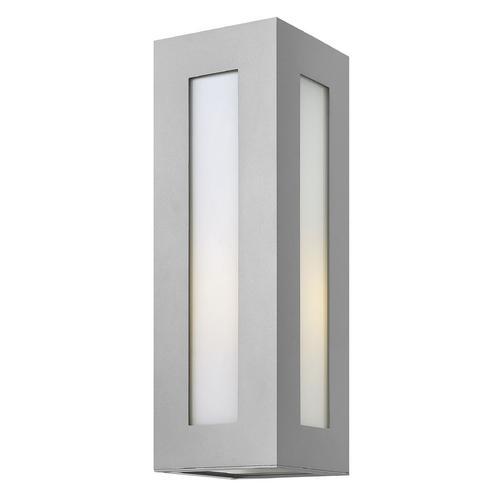 Hinkley Lighting Modern Outdoor Wall Light with White Glass in Titanium Finish 2194TT
