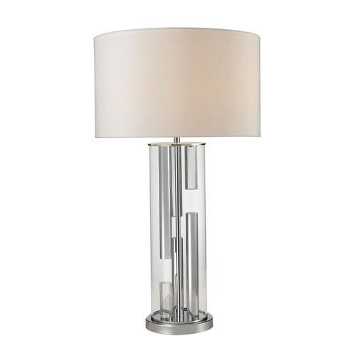Dimond Lighting Dimond Lighting Chrome, Clear Table Lamp with Drum Shade D2674