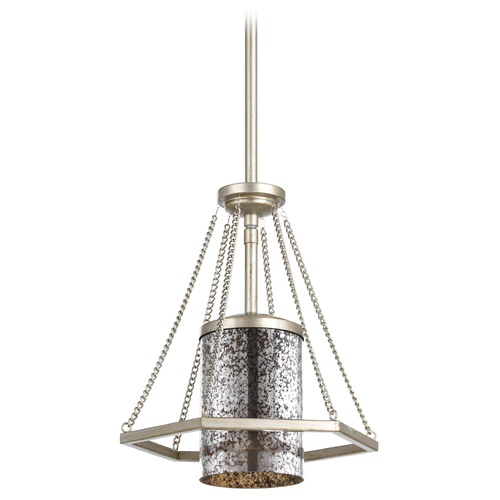Progress Lighting Progress Lighting Indi Silver Ridge Mini-Pendant Light with Cylindrical Shade P5074-134