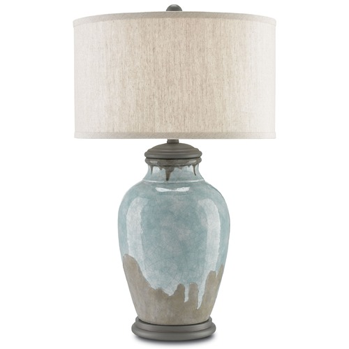 Currey and Company Lighting Currey and Company Chatswood Blue-Green/gray/hiroshi Gray Table Lamp with Drum Shade 6000-0057