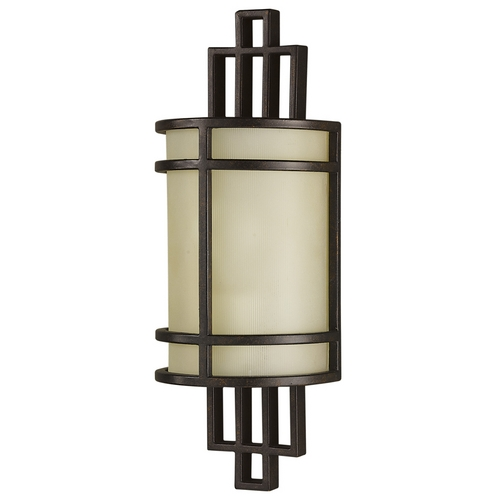 Feiss Lighting Modern Sconce Wall Light with Amber Glass in Grecian Bronze Finish WB1283GBZ