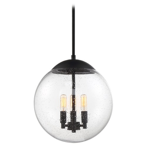 Nuvo Lighting Satco Lighting Ariel Matte Black Pendant Light with Globe Shade 60/6742