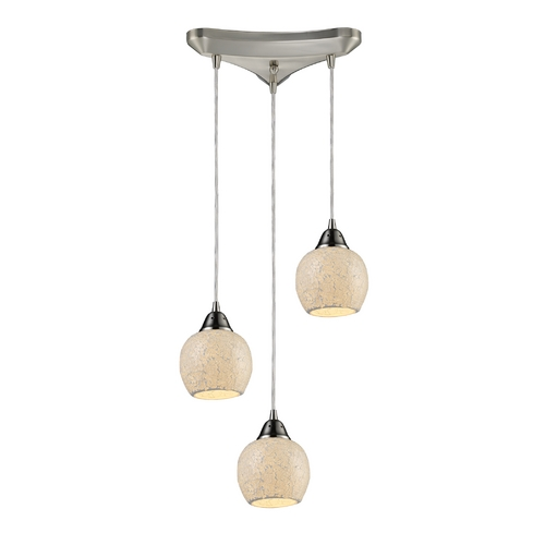 Elk Lighting Multi-Light Pendant Light with Beige / Cream Glass and 3-Lights 10208/3CLD
