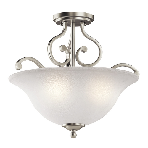 Kichler Lighting Kichler Ceiling Light with White Glass in Brushed Nickel Finish 43232NI