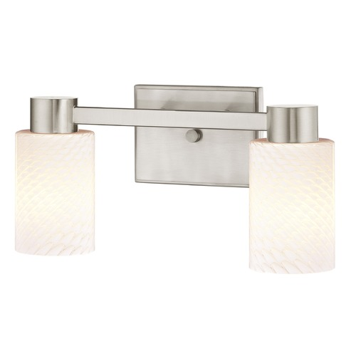 Design Classics Lighting 2-Light White Art Glass Vanity Light Satin Nickel 2102-09 GL1020C