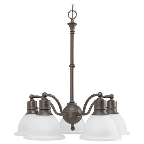 Progress Lighting Progress Chandelier with White Glass in Antique Bronze Finish P4281-20