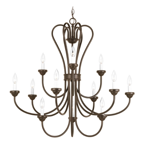 Progress Lighting Chandelier with White Glass in Antique Bronze Finish P4686-20