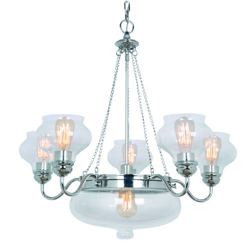 Craftmade Lighting Craftmade Yorktown Polished Nickel Chandeliers with Center Bowl 35026-PLN