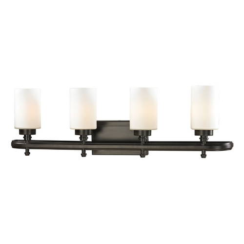Elk Lighting Modern Bathroom Light with White Glass in Oil Rubbed Bronze Finish 11673/4