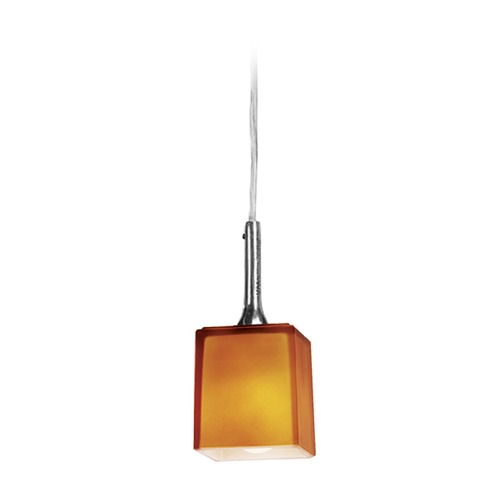 Access Lighting Access Lighting Delta Brushed Steel Mini-Pendant Light with Square Shade 97918-BS/AMB