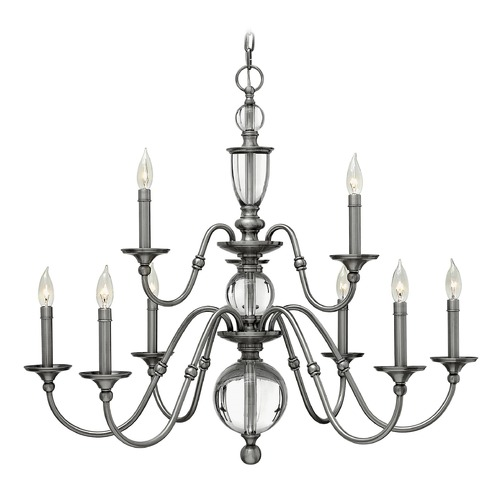 Hinkley Lighting Hinkley Eleanor 2-Tier 9-Light Chandelier in Polished Antique Nickel 4958PL