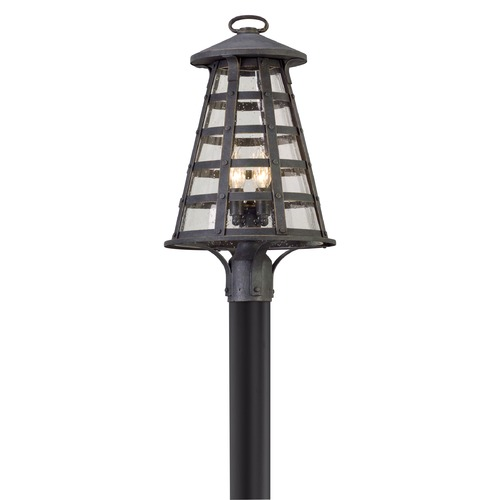 Troy Lighting Seeded Glass LED Post Light Vintage Iron Troy Lighting PL5165