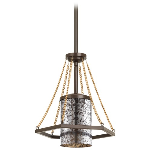 Progress Lighting Progress Lighting Indi Antique Bronze Mini-Pendant Light with Cylindrical Shade P5074-20