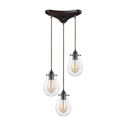 Elk Lighting Elk Lighting Jaelyn Oil Rubbed Bronze Multi-Light Pendant with Bowl / Dome Shade 31934/3