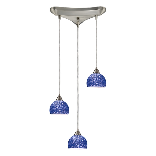 Elk Lighting Modern Multi-Light Pendant Light with Blue Glass and 3-Lights 10143/3PB