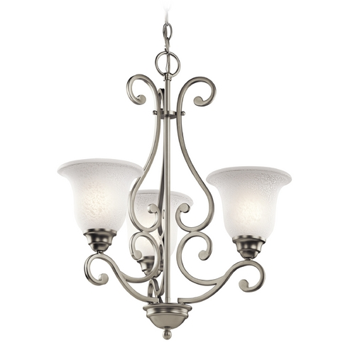 Kichler Lighting Kichler Mini-Chandelier with White Glass in Brushed Nickel Finish 43223NI