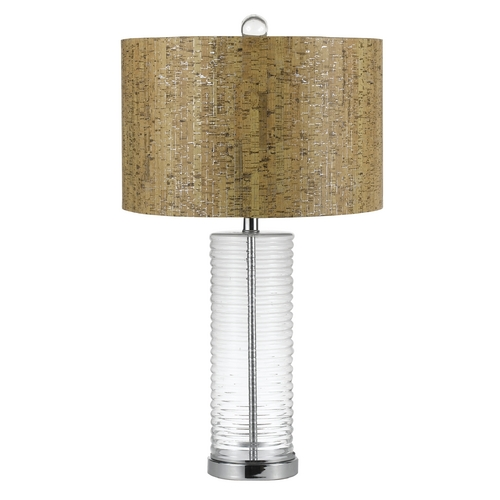 AF Lighting Table Lamp with Wood Cork Shade in Chrome Finish 8459-TL