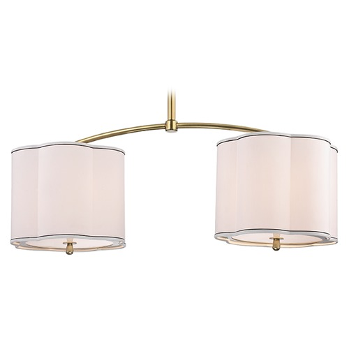 Hudson Valley Lighting Sweeny 6 Light Island Pendant Light Drum Shade - Aged Brass 7942-AGB