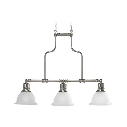 Progress Lighting Progress Island Light with White Glass in Brushed Nickel Finish P4282-09