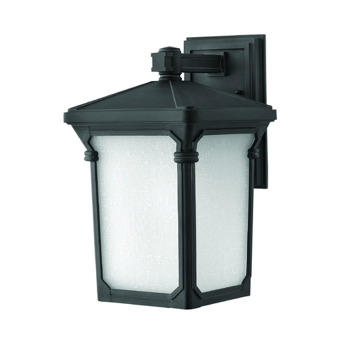 Hinkley Lighting Outdoor Wall Light with White Glass in Museum Black Finish 1354MB