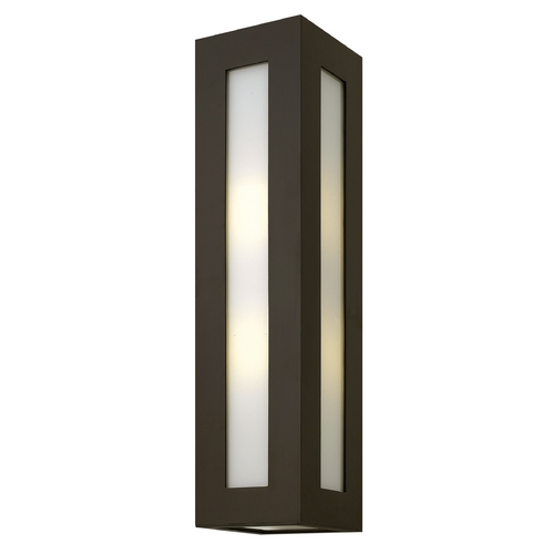Hinkley Lighting Modern Outdoor Wall Light with White Glass in Bronze Finish 2195BZ