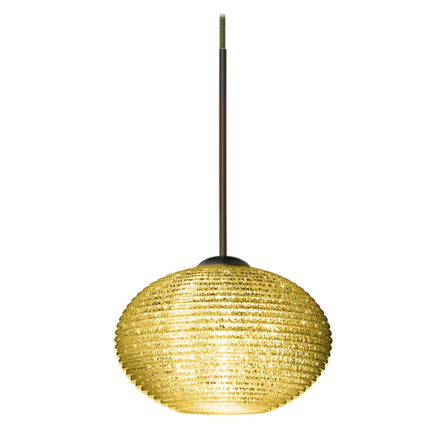 Besa Lighting Besa Lighting Lasso Bronze LED Mini-Pendant Light with Globe Shade 1XT-5612GD-LED-BR