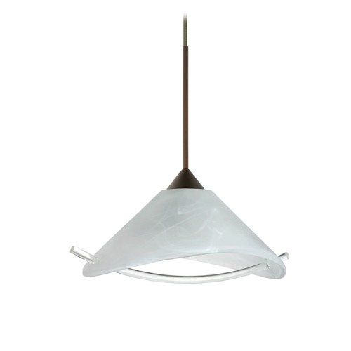 Besa Lighting Besa Lighting Hoppi Bronze LED Mini-Pendant Light with Conical Shade 1XT-181304-LED-BR