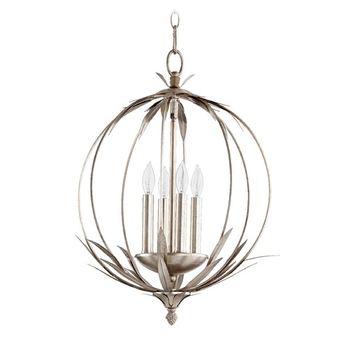 Quorum Lighting Quorum Lighting Flora Aged Silver Leaf Pendant Light 6372-4-60