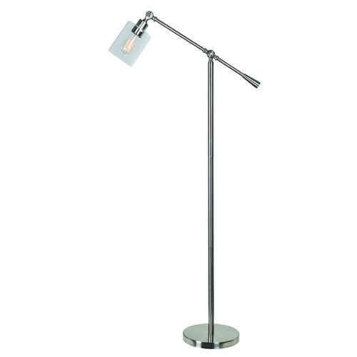 Kenroy Home Lighting Thornton Brushed Steel Swing Arm Lamp with Cylindrical Shade by Kenroy Home 32975BS