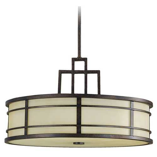 Feiss Lighting Modern Drum Pendant Light with Amber Glass in Grecian Bronze Finish F2081/3GBZ