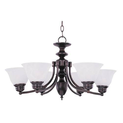 Maxim Lighting Chandelier with Alabaster Glass Shades in Oil Rubbed Bronze Finish 2684MROI