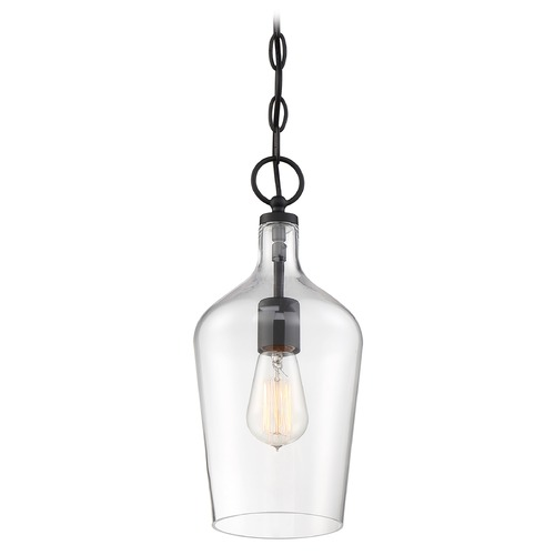 Nuvo Lighting Satco Lighting Hartley Matte Black Pendant Light with Bowl / Dome Shade 60/6749