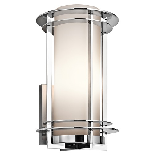 Kichler Lighting Kichler Outdoor Wall Light with White Glass in Stainless Steel Finish 49346PSS316