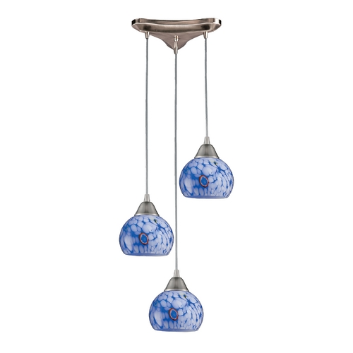 Elk Lighting Multi-Light Pendant Light with Blue Glass and 3-Lights 101-3BL
