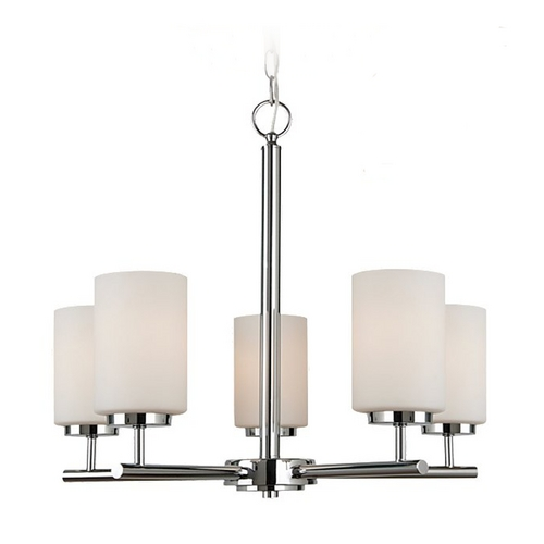 Sea Gull Lighting Sea Gull Lighting Modern 5-Light Chandelier with White Glass in Chrome 31161-05