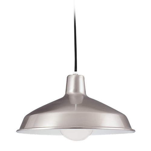 Sea Gull Lighting Farmhouse Barn Light Brushed Stainless Painted Shade by Sea Gull Lighting 6519-98