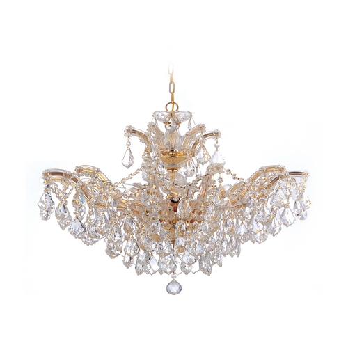Crystorama Lighting Crystal Chandelier in Polished Gold Finish 4439-GD-CL-SAQ